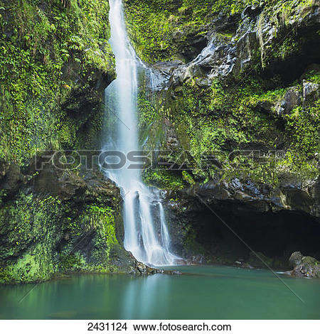 Stock Photo of Beautiful lush waterfall on the road to Hana; Haiku.