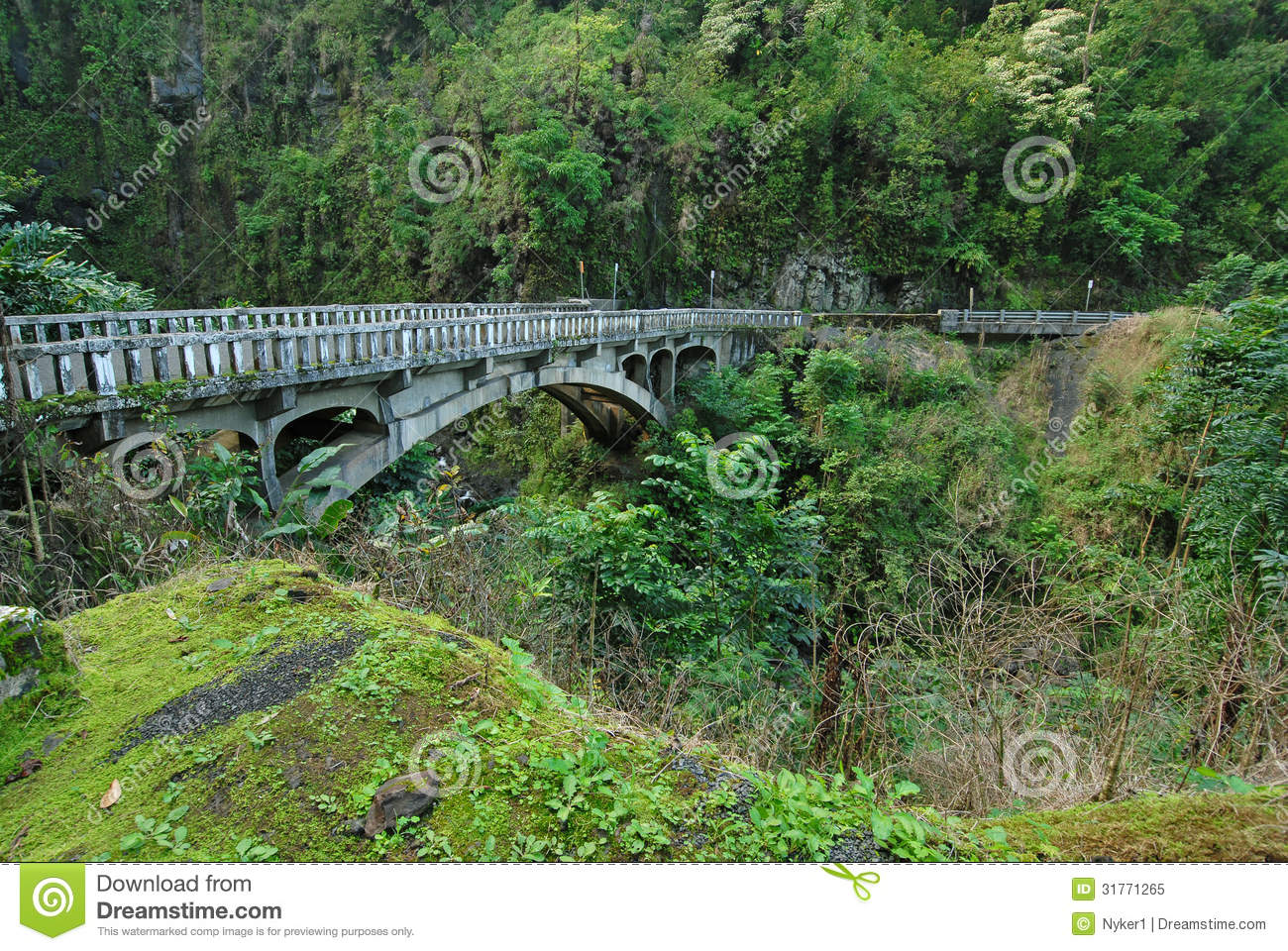 Bridge On Road To Hana, Maui, Hawaii Royalty Free Stock Photo.