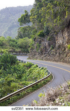 Stock Photography of Many, many curves on the road to Hana, Maui.
