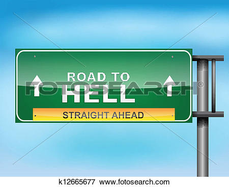 Clip Art of Highway sign with