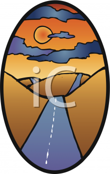 Clipart Picture of a Hilly Road at Sunset.