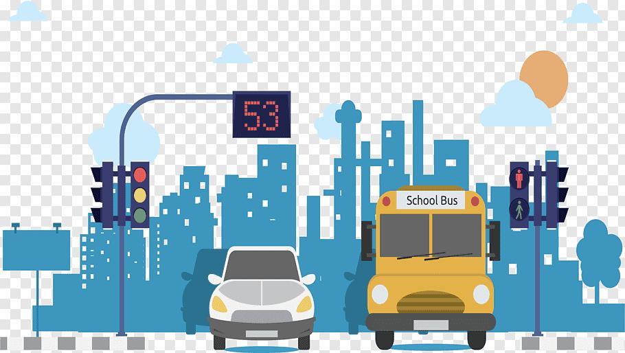Yellow school bus and white vehicle illustration, Beijing.