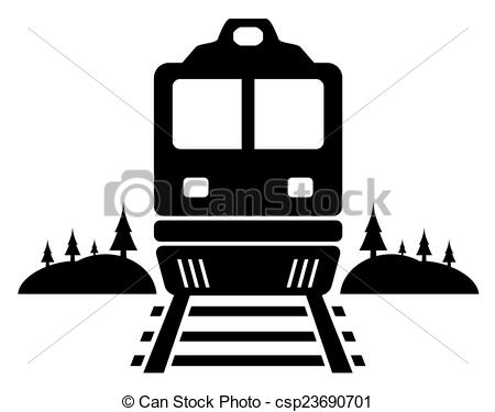 Vector Clipart of rail road icon with moving train.