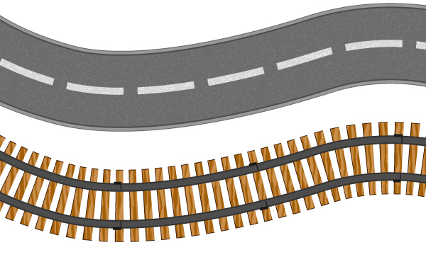 Road And Train Tracks Pictures Clipart.