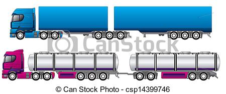 EPS Vector of B double road trains tanker and regular csp14399746.