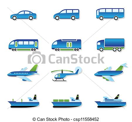 Clipart Vector of Road, air, rail and water transport.