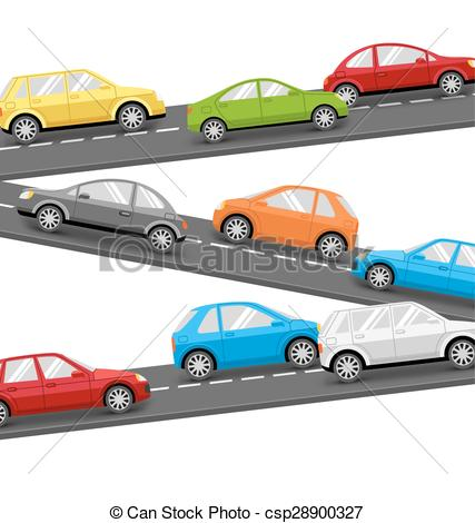 Vector Illustration of Cars on Road. Transport Background.