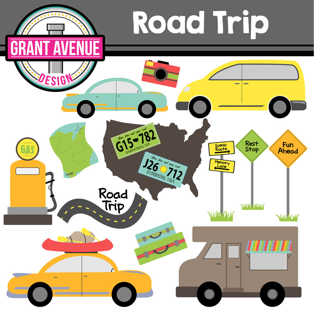 Fall road trip clipart.