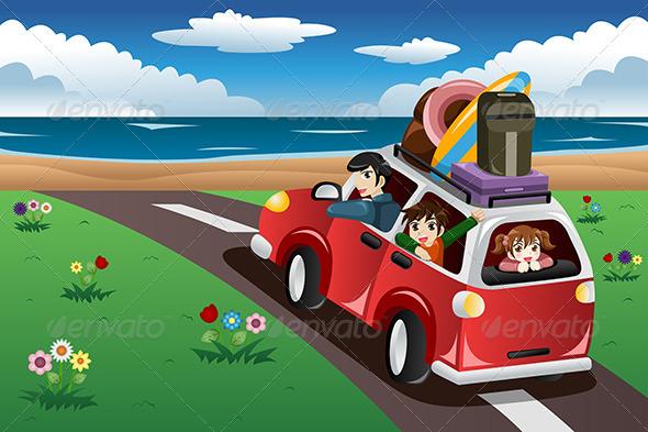 Road Trip To Beach Clipart.