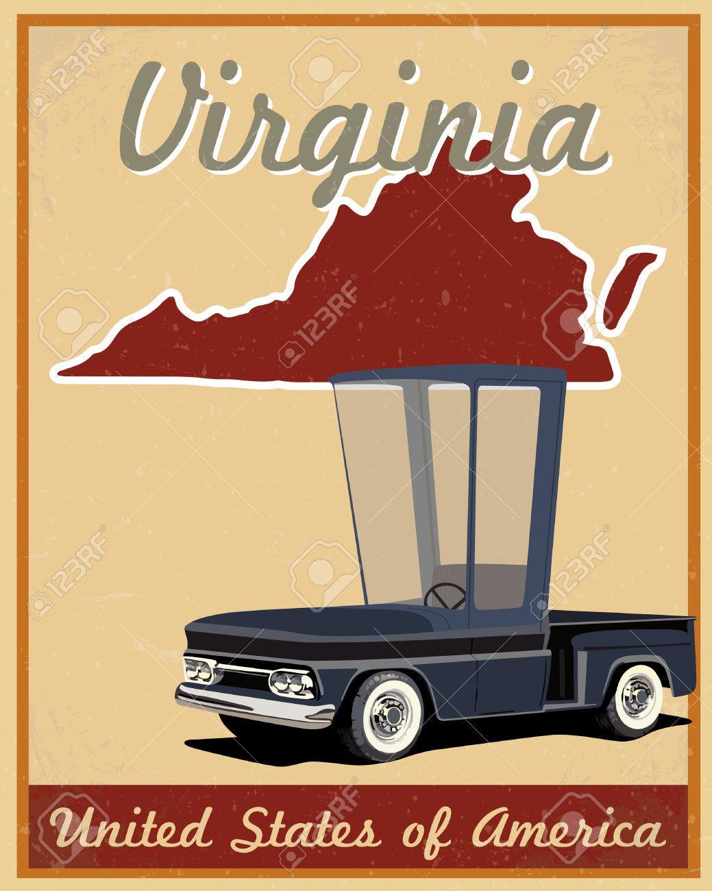 Virginia Road Trip Vintage Poster Royalty Free Cliparts, Vectors.