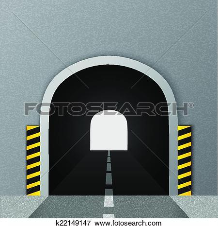 Clip Art of Road tunnel. Vector illustration. k22149147.
