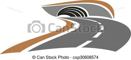 Vectors Illustration of Mountain road tunnel abstract icon.