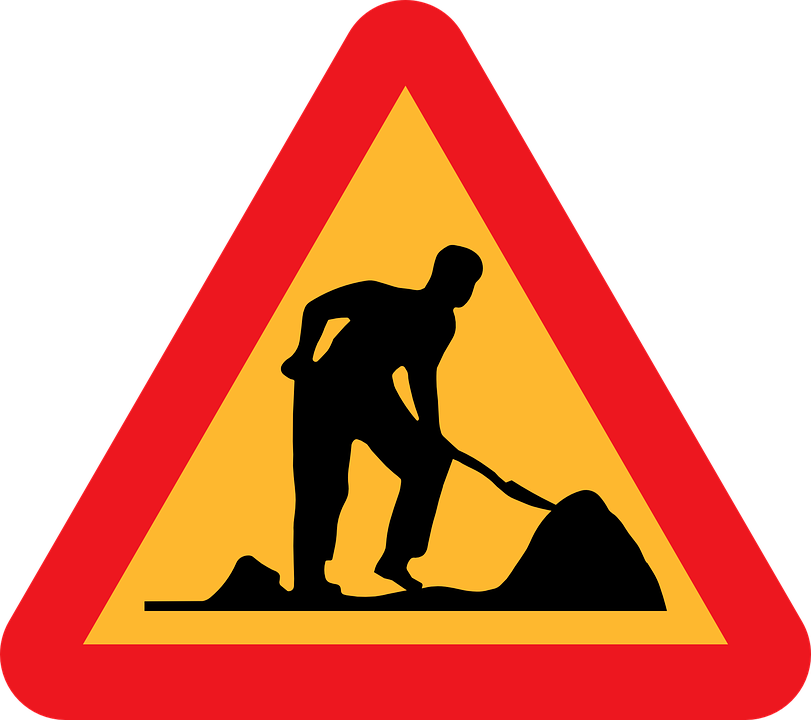 Free vector graphic: Sign, Roadworks, Under.