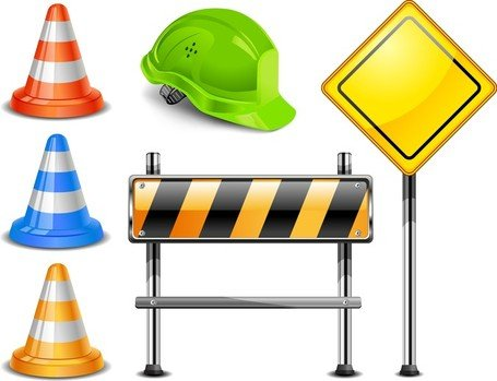 Roadblock Signs, Clip Art.