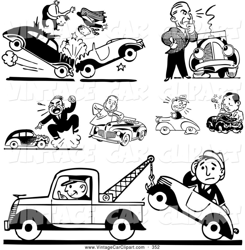 Royalty Free Roadside Assistance Stock Vintage Car Designs.