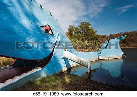 Stock Photograph of USA, Oklahoma, Catoosa, The Blue Whale, Route.
