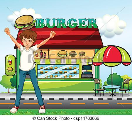 Clip Art Vector of A man in front of the burger stand.