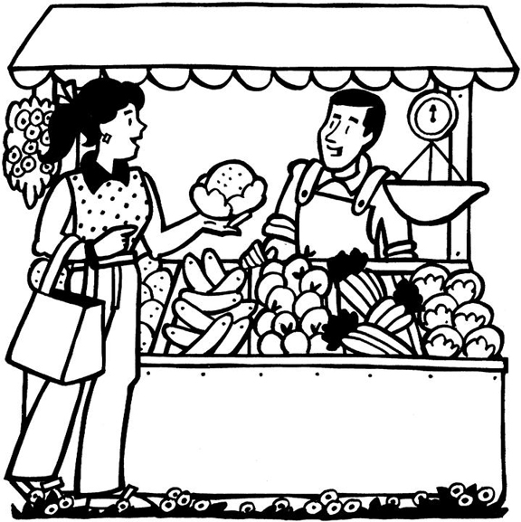 Produce Stand Of Coloring Pages coloring page, coloring image.