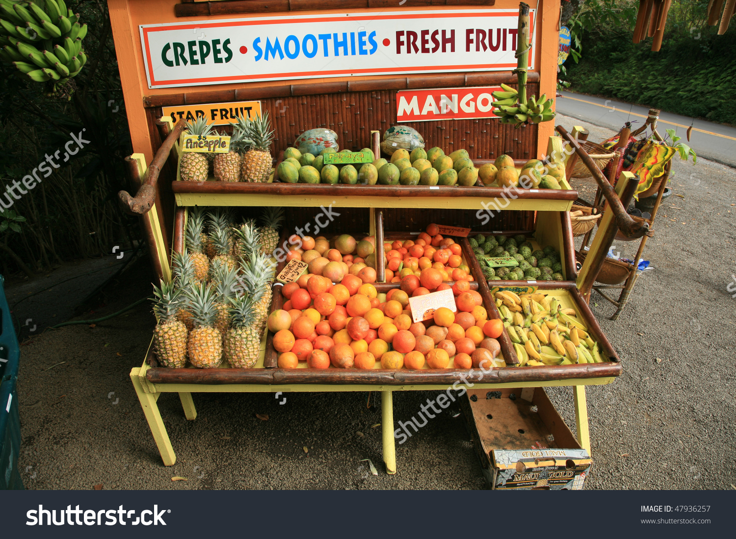 Pineapples Other Fruits Sale Roadside Stand Stock Photo 47936257.