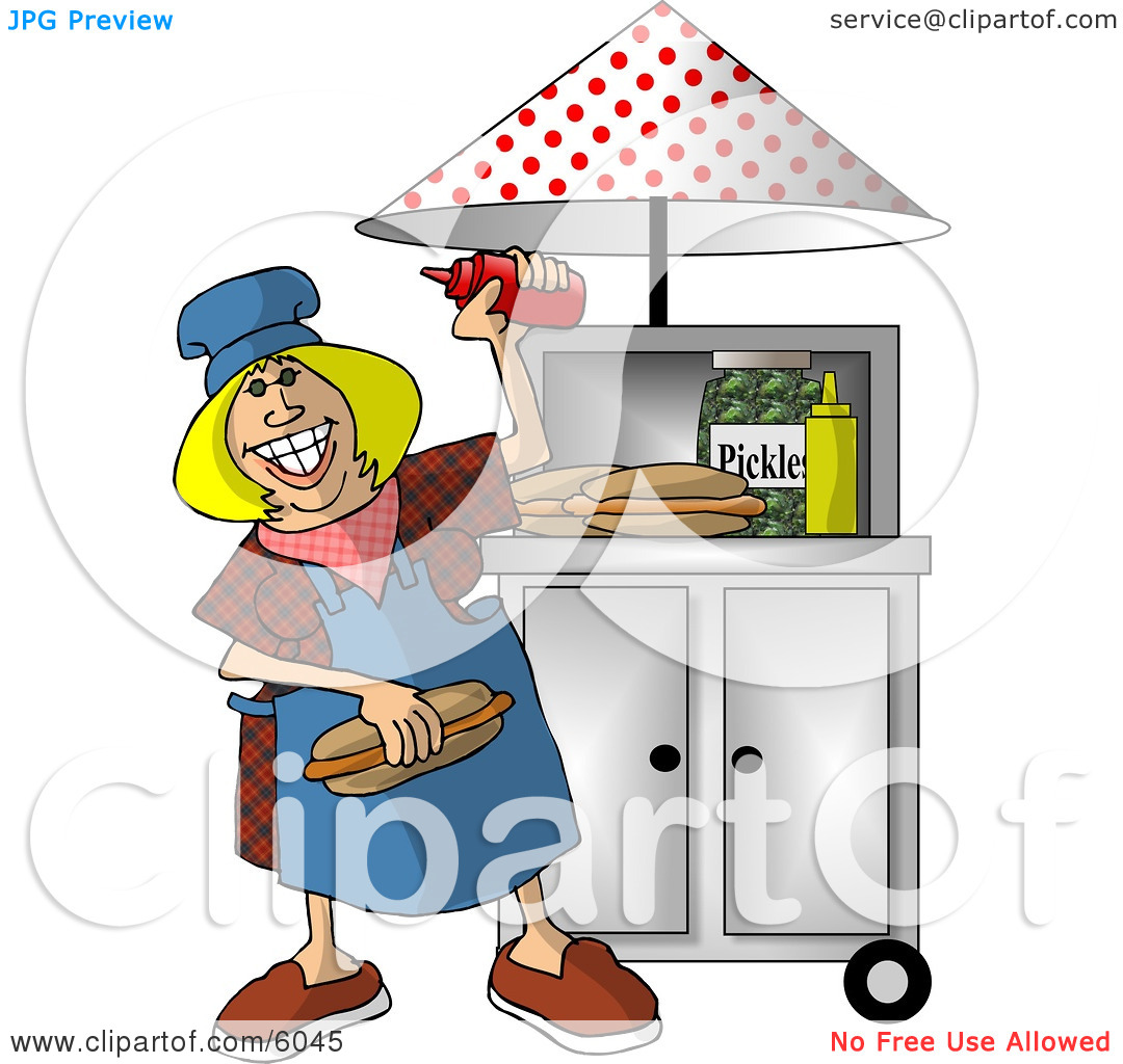 Happy Lady Working at a Portable Roadside Hot dog Stand Clipart.