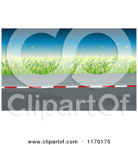 Cartoon of a Road Sidewalk and Dandelion Weeds at Dusk.