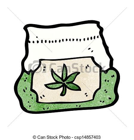 Vector Clipart of cartoon bag of weed csp14857403.
