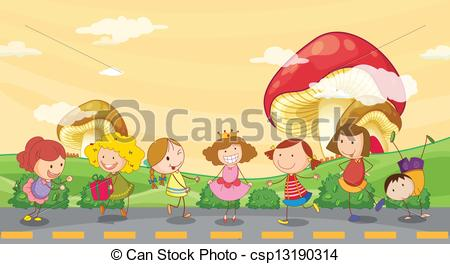 Vector Clip Art of Kids playing at the roadside.