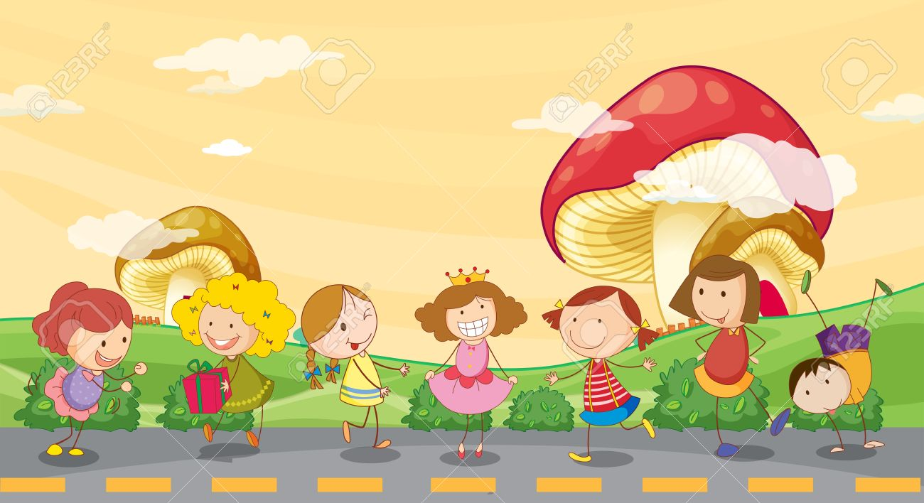 Illustration Of Kids Playing At The Roadside Royalty Free Cliparts.