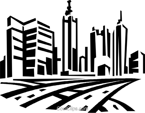 roadways and city skyline Royalty Free Vector Clip Art.