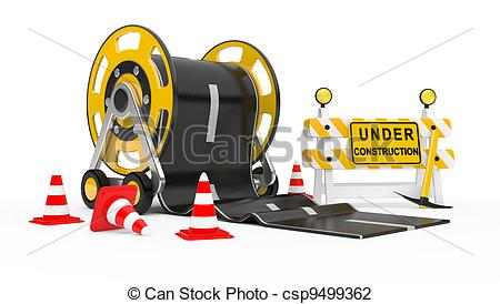 Clip Art of Road works.