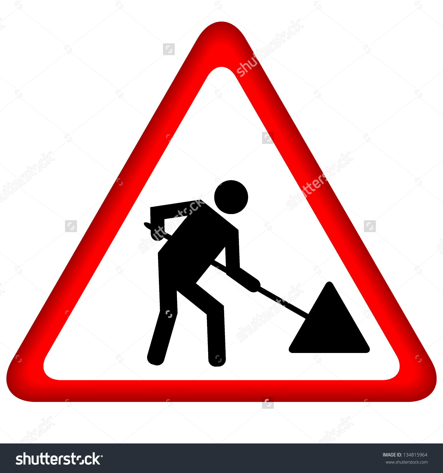 Road Works Sign Under Construction Stock Vector 134815964.