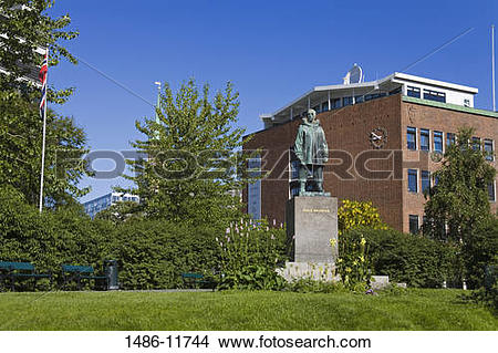 Stock Photo of Statue of Roald Amundsen in a park, Tromso, Toms.