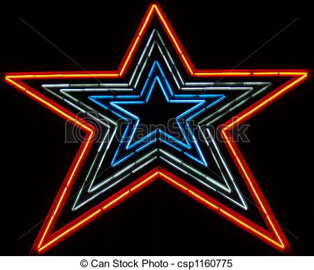 Stock Illustrations of Neon Star about 100 ft tall.