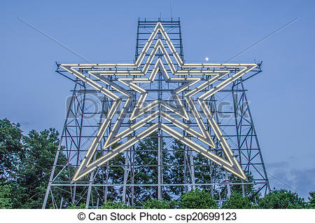 Stock Photo of big star of a star city roanoke virginia.