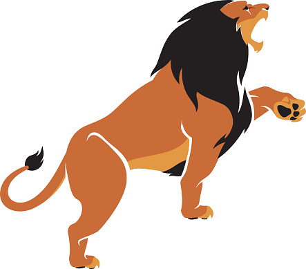 Lion Roar Clip Art, Vector Image Illustrations.