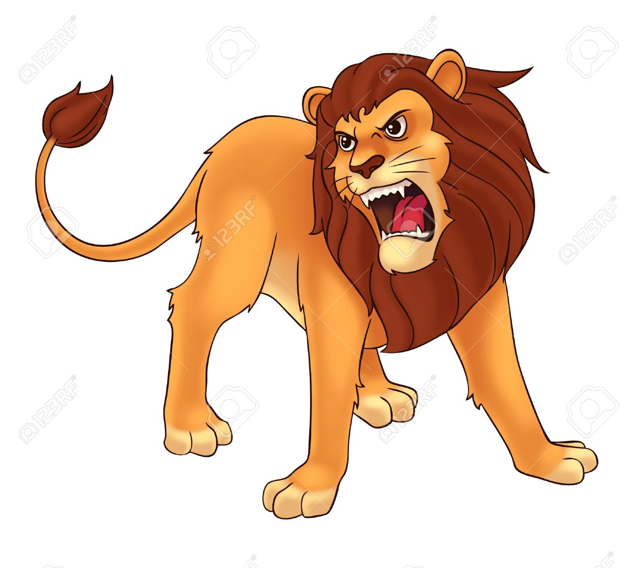 Animated roaring lion clipart.