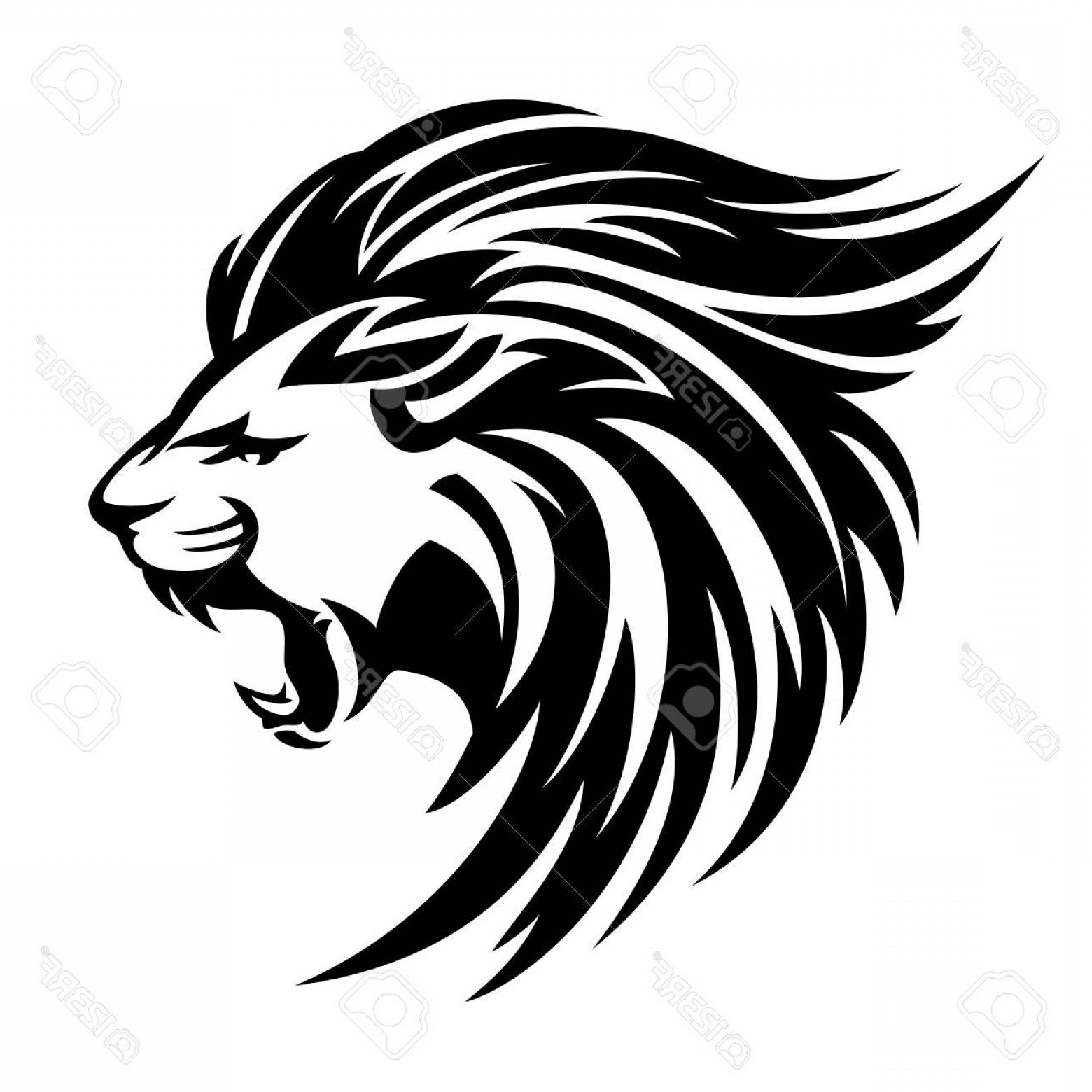 Photostock Vector Roaring Lion Profile Portrait Side View.