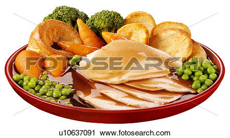 Stock Photography of Roast Chicken Dinner Cut Out u10637091.