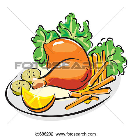 Clipart of roast chicken leg k5686202.