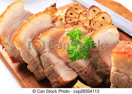 Stock Photography of Roast pork belly and garlic csp28354113.