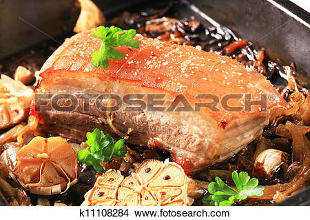 Stock Photo of Roast pork belly k11108284.