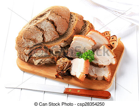 Stock Images of Roast pork belly with bread and garlic csp28354250.