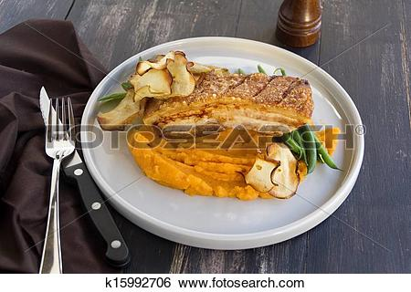 Stock Images of Roast Pork Belly k15992706.
