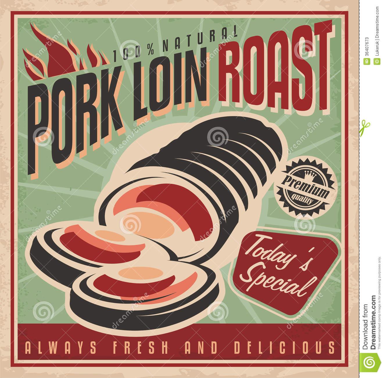Pork loin dinner clipart.