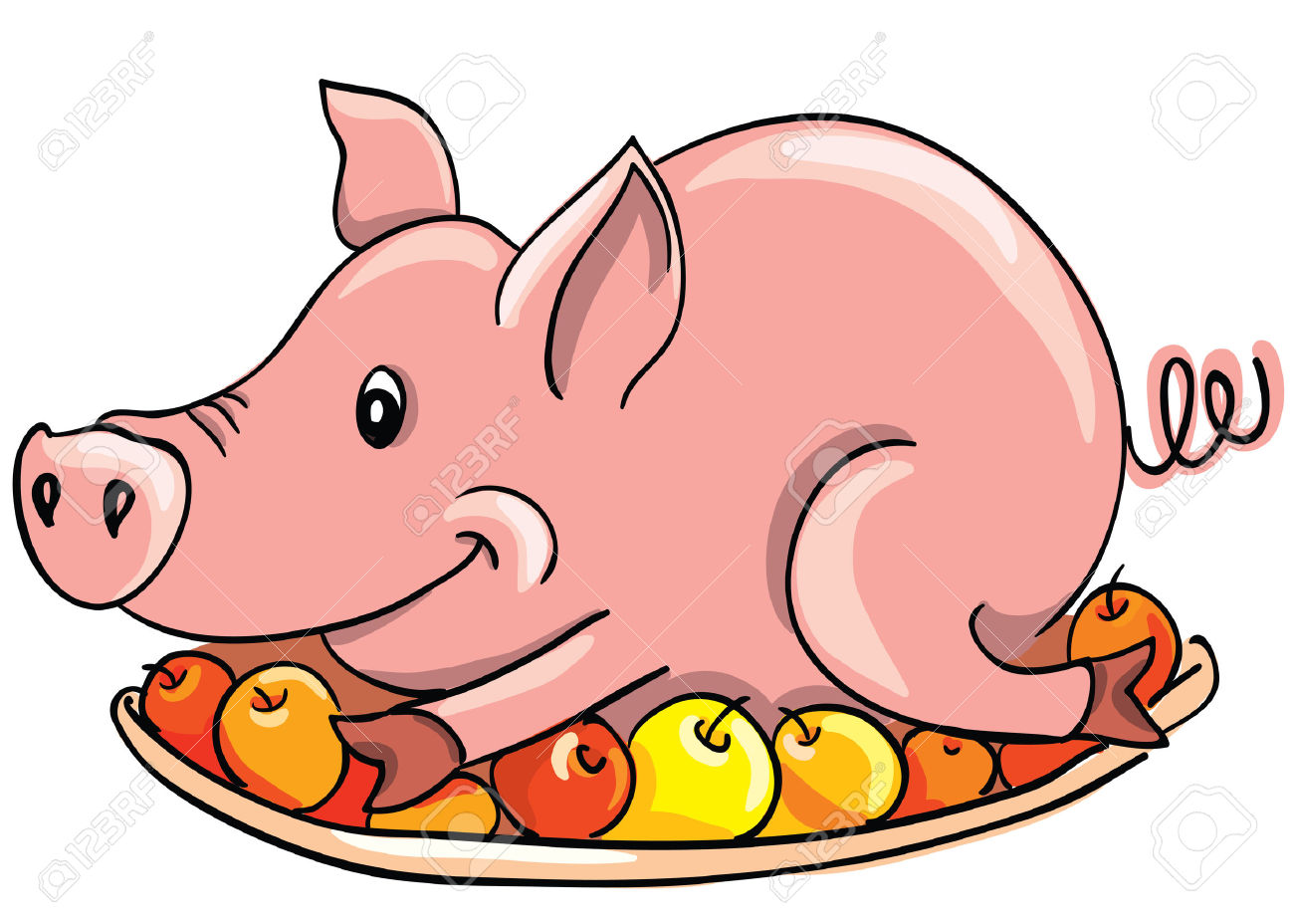 Cartoon Fried Pig On A Plate Royalty Free Cliparts, Vectors, And.