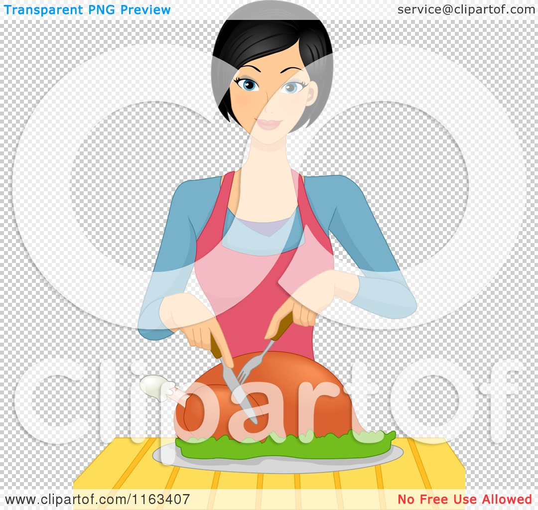 Cartoon of a Happy Woman Carving a Roasted Chicken.