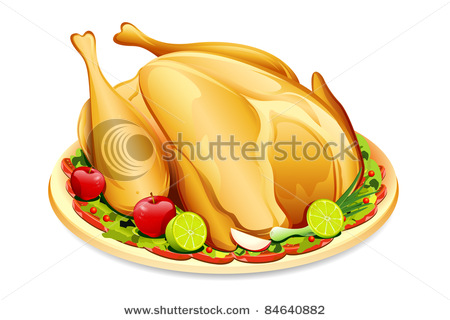 Holiday Turkey on Platter with Garnish.