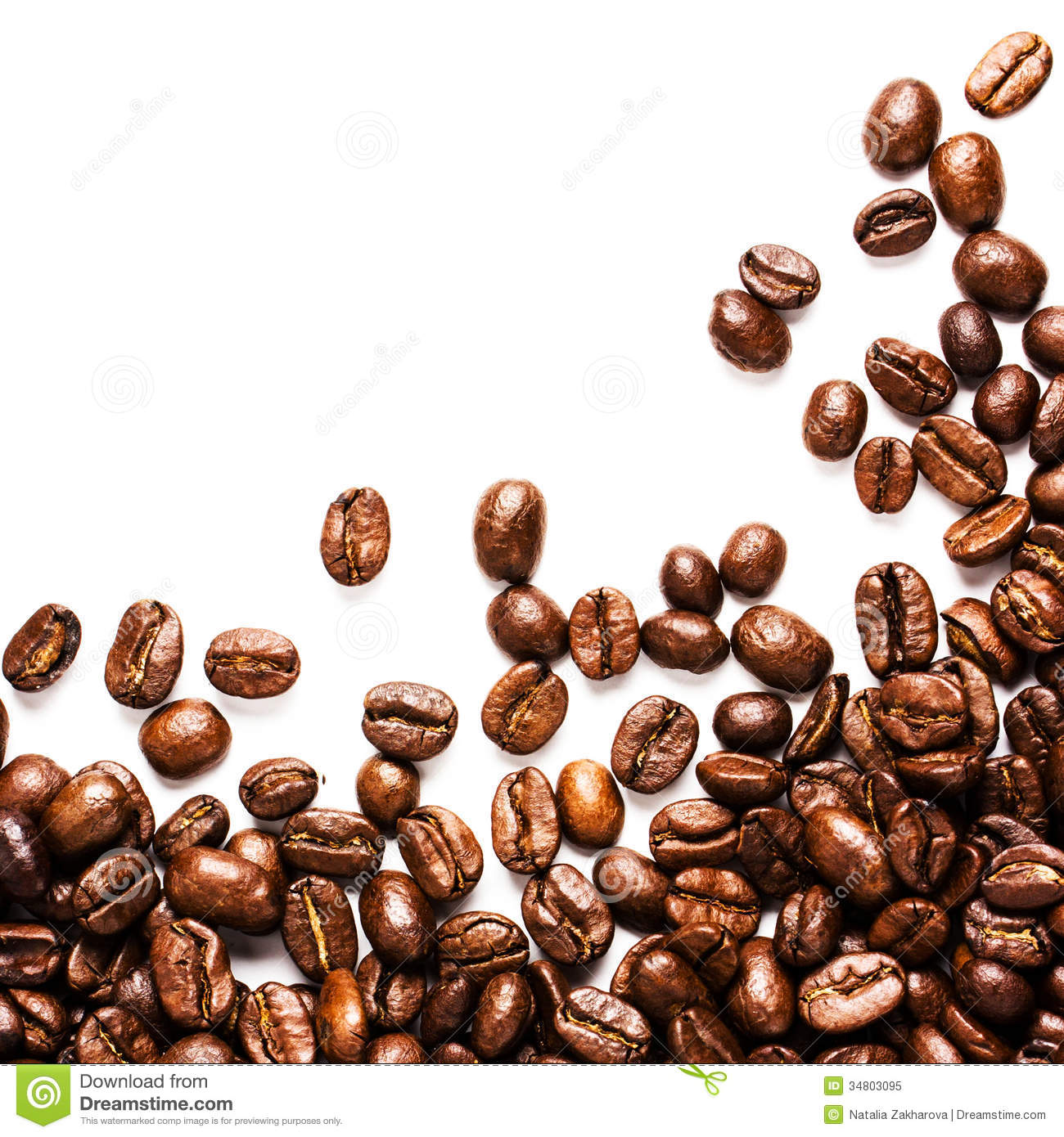 Roasted Coffee Beans Background Or Texture With White Copy Spac.