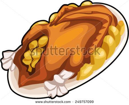 Roasted Duck Stock Vector Illustration 249757099 : Shutterstock.