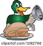Clipart of a Happy Mallard Duck School Mascot Character Serving a.